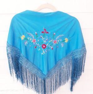 Vintage Embroidered Fringe Shawl